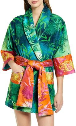 Versace Jungle Print Short Robe