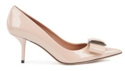 HUGO BOSS Heeled Pumps In Patent Italian Leather With Bow Embellishment - Light Beige