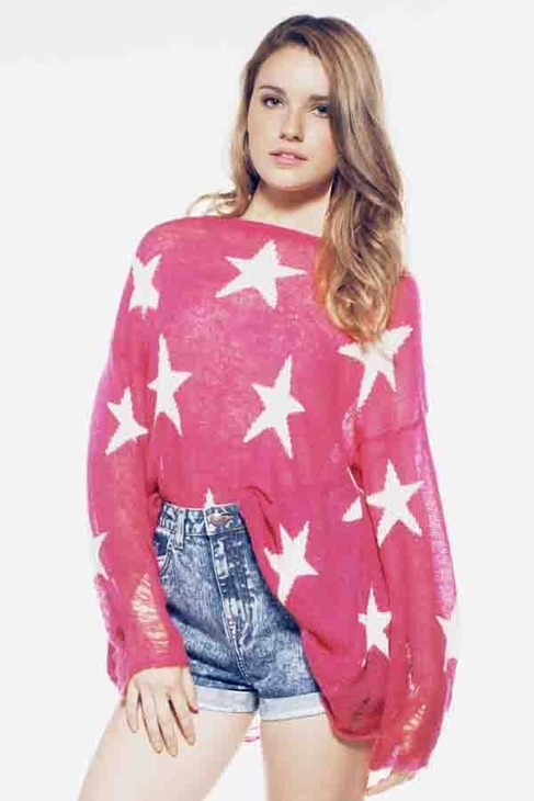 Wildfox Couture Seeing Stars Lennon Sweater in Magenta