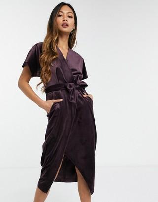 Closet London kimono sleeve velvet midi dress with wrap tie in plum