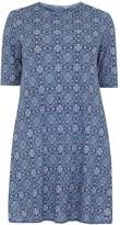**Amy.K Curve Blue Roll Neck Printed Dress