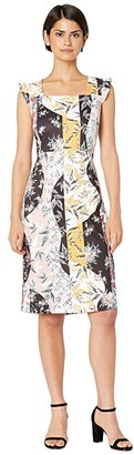 Sam Edelman Floral Stripe Scuba Dress (Ivory Multi) Women's Dress