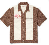 KAPITAL - Camp-collar Embroidered Leopard-print Cotton Shirt - Brown