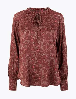 M&S CollectionMarks and Spencer Satin Printed Popover Blouse