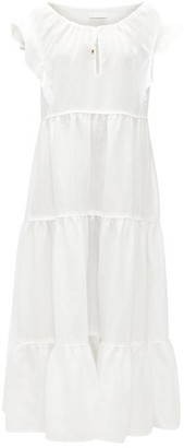 Ephemera - Drawstring-neck Tiered Linen Maxi Dress - Ivory