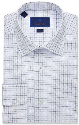 David Donahue Trim Fit Textured Outlined Check Dress Shirt (White) Men's Clothing