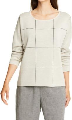 Eileen Fisher Windowpane Check Merino Wool Sweater