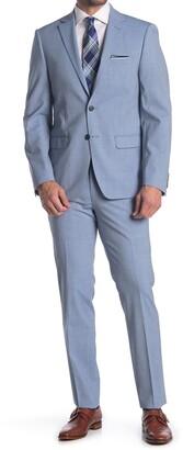 Calvin Klein Solid Blue Two Button Notch Lapel Extra Slim Fit Suit