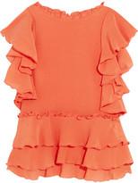 Apiece Apart Hacienda Ruffled Silk-crepon Top - Orange