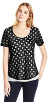 NY Collection Women's Short Sleeve Novelty Knit Checkered Print Top