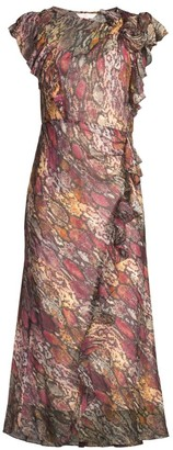 Rebecca Taylor Met Python Print Ruffled Midi Dress