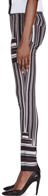 Peter Pilotto Black & White Stripe Skinny Trousers