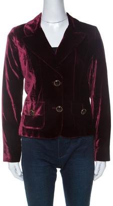 Dolce & Gabbana Vintage Maroon Velvet Cropped Classic Tailored Blazer L
