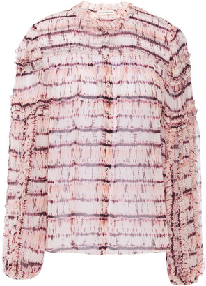 Ulla Johnson Mari Ruffle-trimmed Tie-dyed Silk-georgette Blouse