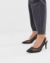 Asos Design DESIGN Sadie slingback mid heels in black fishnet