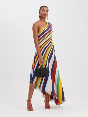 Oscar de la Renta Striped Knit Dress