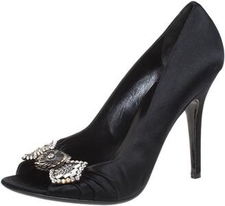 Gucci Black Satin Crystal Bow Embellished Peep Toe Pumps Size 39