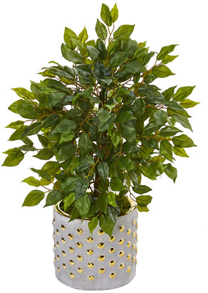 Nearly Natural Mini Ficus Artificial Tree In Stoneware Vase With Gold Trimming