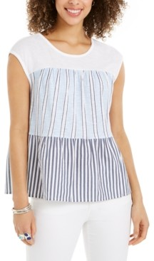 Style&Co. Style & Co Cotton Tiered Printed Top, Created for Macy's