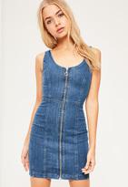 Missguided Fitted Denim Dress Vintage Indigo