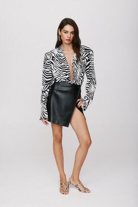 Nasty Gal Womens Take the Lead Faux Leather Mini Skirt - Black - 4