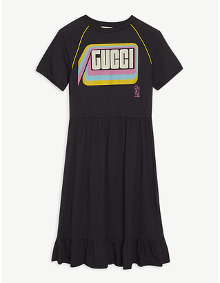 Gucci Frilled logo-print cotton T-shirt dress 4-12 years