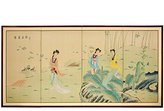 Oriental Furniture Discontinued Feb 2011-36 by 72-Inch Ladies in the Garden Chinese Brush Art Wall Screen Painting
