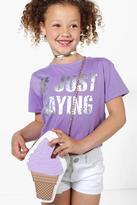 boohoo Girls Just Saying Tee lilac