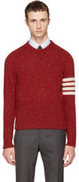 Thom Browne Red Classic Mohair Crewneck Pullover