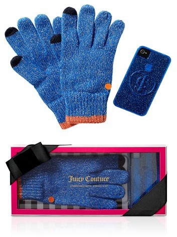 Juicy Couture Texting Gloves & Iphone Case Set in Bright Lapis