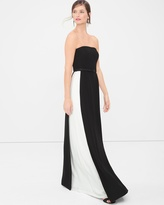 White House Black Market Strapless Colorblock Gown