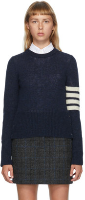 Thom Browne Navy Shetland Wool 4-Bar Sweater