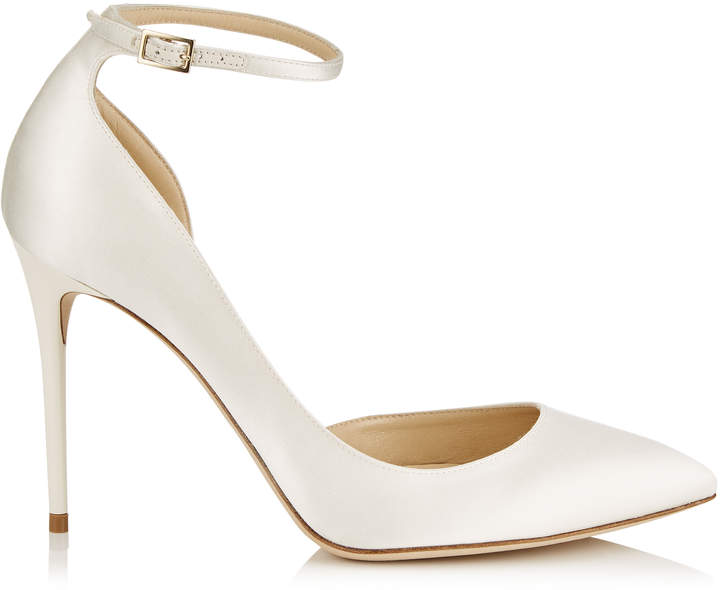 Jimmy Choo LUCY 100 Ivory Satin Pointy Toe Pumps