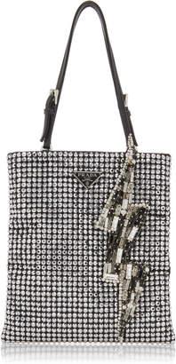Prada Lightning Bolt Embellished Raso Top Handle Bag
