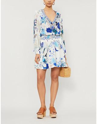 Camilla White Side Of The Moon-print silk mini dress
