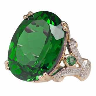 Maheegu Statement Ring Fashion Jewelry Yellow Gold Filled Round Green turquoise Women's Wedding Ring Band Size6-10 (Green 6)
