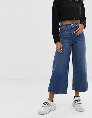 Asos Design DESIGN premium wide leg jeans dark stonewash blue