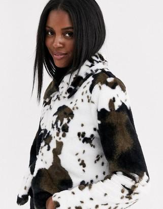 Brave Soul faux fur trucker jacket in cow print-Multi