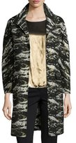 Neiman Marcus Jacquard Metallic Long Topper Coat