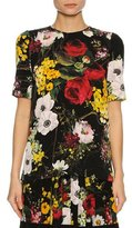 Dolce & Gabbana Floral Bouquet Silk Charmeuse T-Shirt, Black