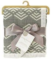 Living Textiles Muslin Jacquard Blanket, Grey Chevron