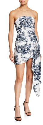 Oscar de la Renta Floral Strapless Gathered Mini Dress