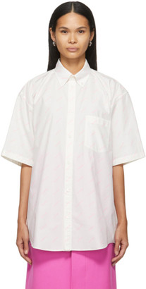 Balenciaga White and Pink Allover Logo Short Sleeve Shirt