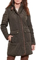 Lauren Ralph Lauren Women's Diamond Quilted Coat With Faux Leather Trim