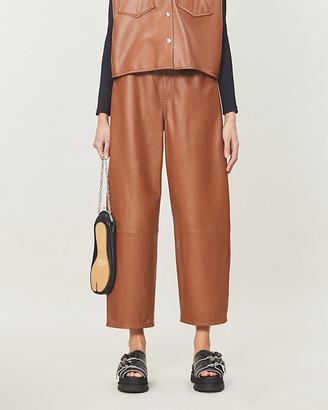 MM6 MAISON MARGIELA Wide-leg high-rise leather trousers