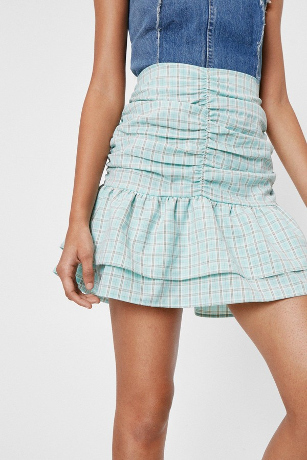 Thumbnail for your product : Nasty Gal Womens Ruched Check Tiered Mini Skirt - Green - 4