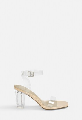 Missguided Nude Clear Mid Block Heels