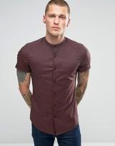 Asos Skinny Shirt In Rust Tonic With Grandad Collar