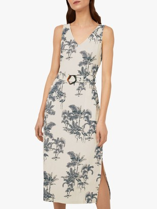 Warehouse Palm Tree Print V-Neck Midi Dress, Neutral Print