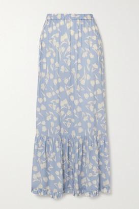 Peony Swimwear Net Sustain Tiered Floral-print Woven Maxi Skirt - Sky blue